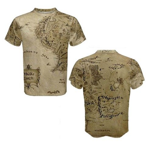 Lord Of The Ring Hobbit Middle Earth Map 3D Full Print T Shirt – 3d Map of Middle Earth