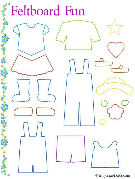 Felt board clothes template // Plantilla para ropa de fieltro