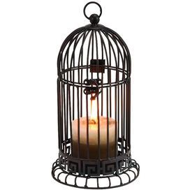 """Bring a rustic-chic touch to your living room, dining room, or patio with the beautiful Maison Candle Holder. Artfully crafted of metal, this beautiful silhouette showcases a warmly weathered finish and traditional lantern-style detail.     Product: Candleholder Construction Material: Metal Color: Bronze  Dimensions: 11"""" H x 6"""" Diameter  Note: Candle not included Cleaning and Care: Wipe clean with cloth"""