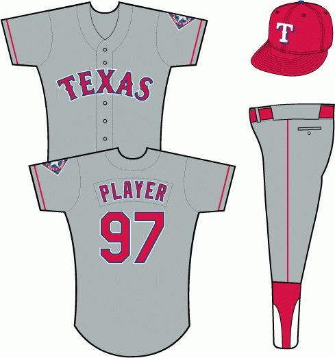Texas Rangers Road Uniform (1995) - Texas in red with blue and white outlines on a grey uniform with red sleeve piping, primary logo patch on left sleeve