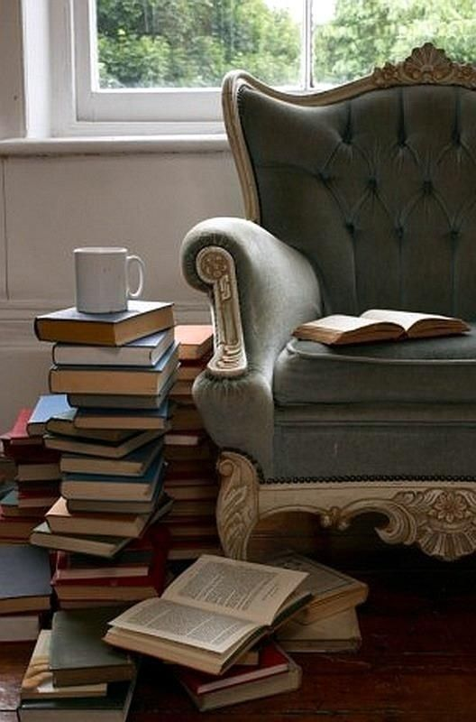 This picture sums up what I do with my life offline - books, tea, comfy chair, escape into another world.: