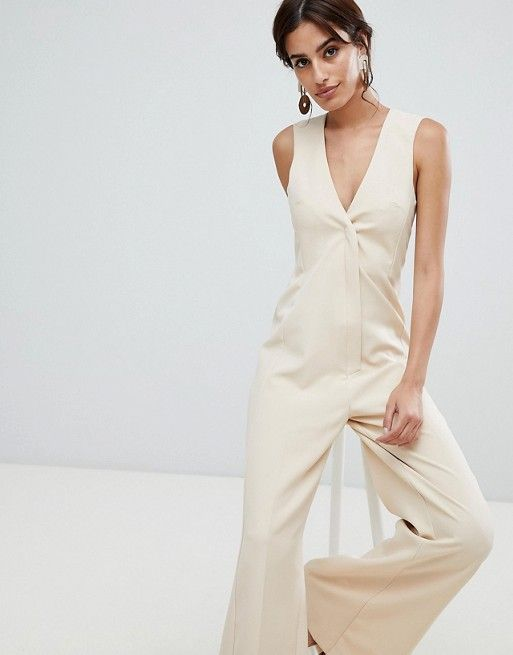 ee4f7acd58e ASOS DESIGN Tailored Jumpsuit with Wide Leg at asos.com