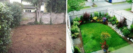 ein geschlossener Hinterhof mit blühenden Pflanzen gestalten - garten neu gestalten vorher nachher