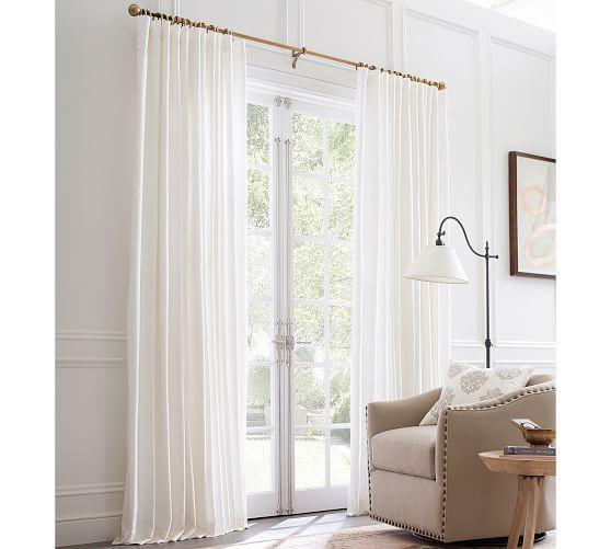 Dupioni Silk Pole Pocket Drape 50 X 108 Brownstone At Pottery Barn Rugs Windows Drapes Curtains White Curtains Curtains Ivory Curtains
