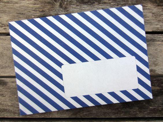 10 gestreifte C6 Briefumschläge von zartbesaitet auf DaWanda.com