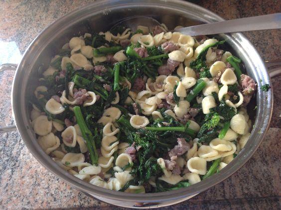 Pasta with broccoli rabe and sausage! Good Italian peasant dish!