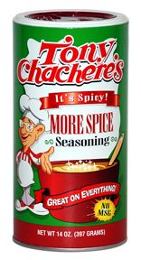 Chachere's More Spice Seasoning- I use it on nearly everything: beef, chicken, pork, fish, salads, soup, chili...Red loves it, too!