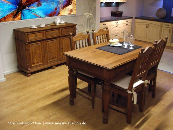 Esszimmermöbel aus massivem Holz Kiefer - Farbe natur antik hell ...