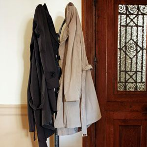 LOVE the pegs hubby put up just inside our door for coats!  Couldn't do w/o those!