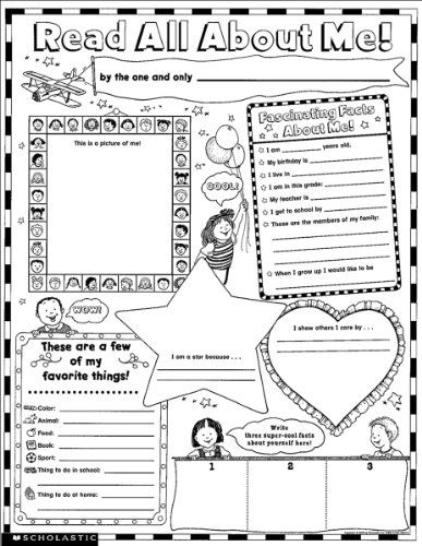 Printables Scholastic Teaching Resources Worksheets all about me worksheets printables instant personal poster sets read me