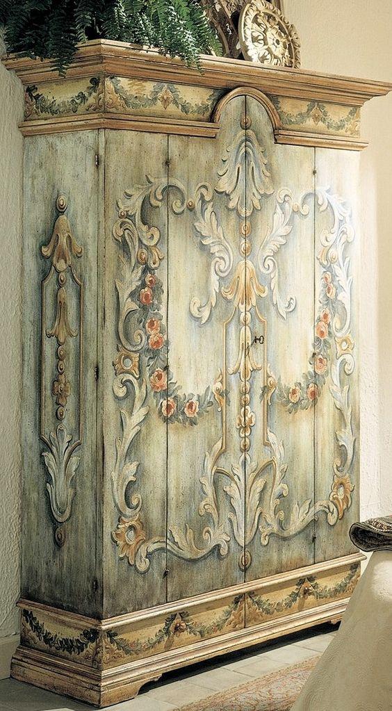 Stylish wardrobe drawings francesco molon french italian for Italian painted furniture