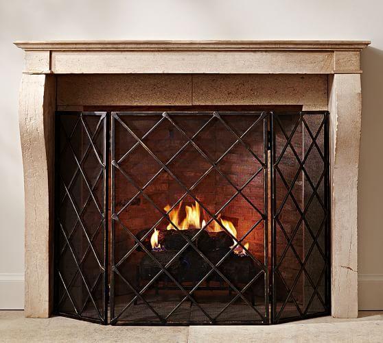 Lattice Hand Forged Metal Fireplace Triple Screen, Large, Blackened finish
