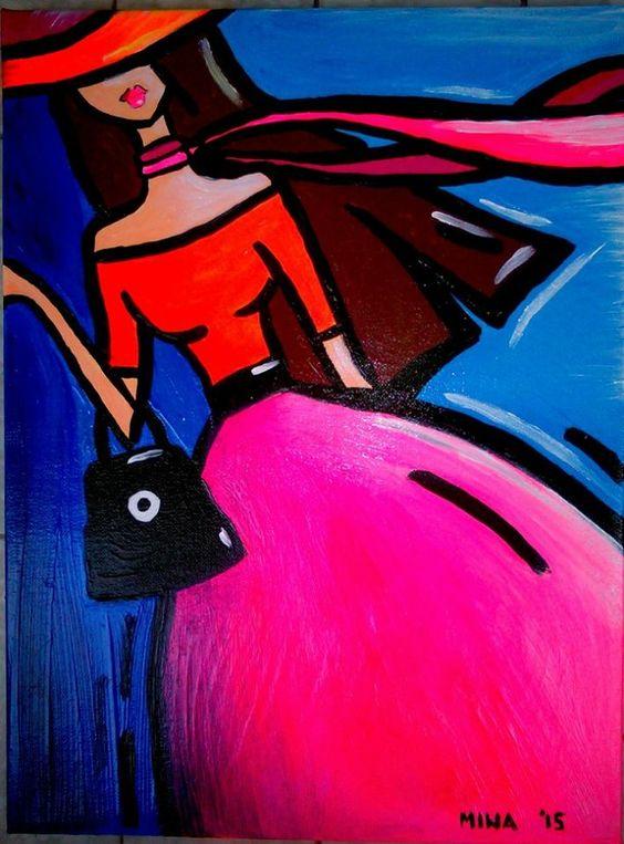 Popart acrylic and oil on canvas by Mina Sevo