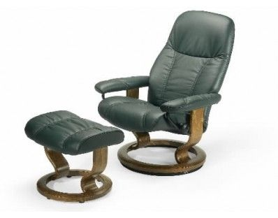$1,700 leather ($1,600 fabric). Ekornes Stressless Diplomat Recliner with Ottoman 3 sizes - this is smallest. This lounger is the baby brother to the Ambassador and Consul. Ships fully assembled.