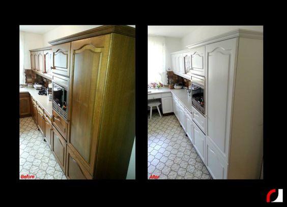 Eiken houten keuken wit gespoten! (3) #Spuiterij #Verven #