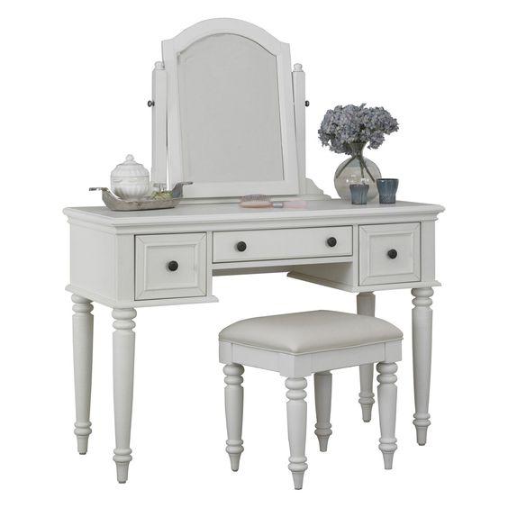 Bermuda Bedroom Vanity Table - White - Bedroom Vanities at Hayneedle