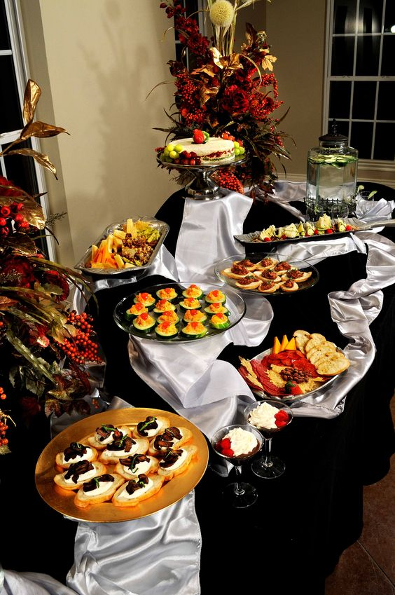 Appetizer buffet line set up wedding catering oklahoma for Appetizer decoration