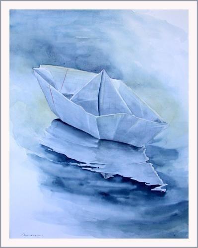 Tableau Aquarelle Bateau En Papier Par L Artiste Syl 20 Sur Ateliermagique Com Bateau Papier Aquarelle Dessin Vacances