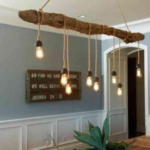 lampe de suspension en bois flotté