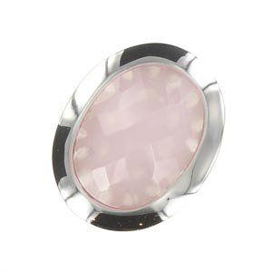 Sortija-Anillo de oro blanco en color rosa. Grande. Con piedra natural