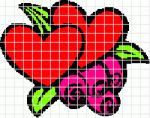 Hearts and Roses Crochet Graphghan Pattern (Chart/Graph AND Row-by-Row Written Instructions)