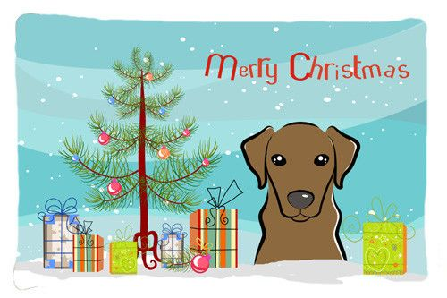 Christmas Tree and Chocolate Labrador Fabric Standard Pillowcase BB1606PILLOWCASE