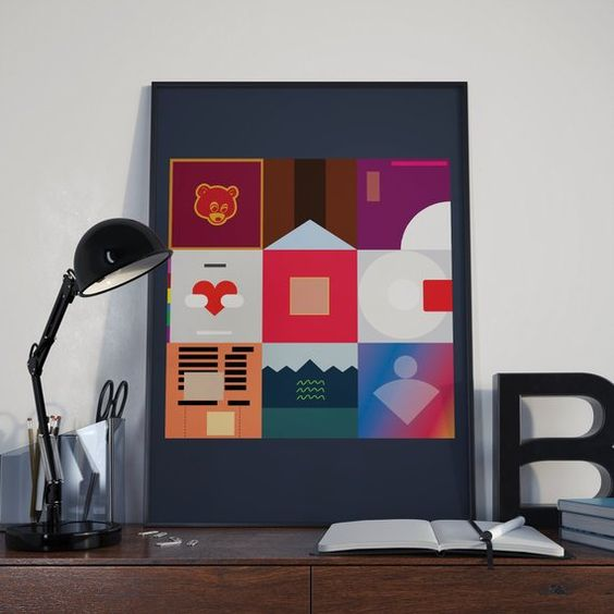 Kanye West Poster Minimalist Album Covers Poster Prints Album Covers Beautiful Dark Twisted Fantasy