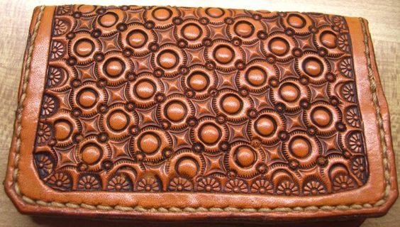 hand tooled leather business card wallet or credit card holder #tooled #business #card #credit @www.etsy.com/shop/drygulchleatherworks