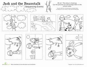 math worksheet : jack and the beanstalk story sequence  jack and the beanstalk  : Story Sequencing Worksheets Kindergarten
