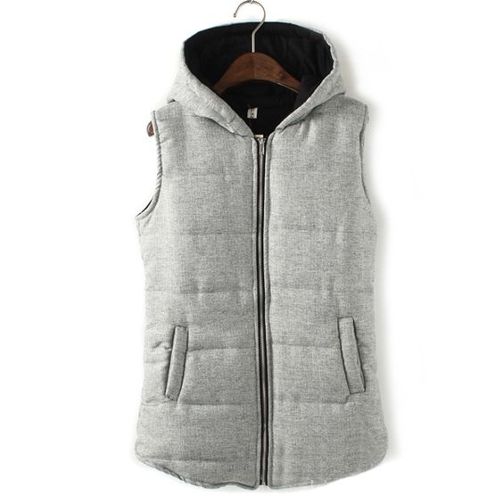 Newly Casual Zip Up Hooded Grey Winter Vests