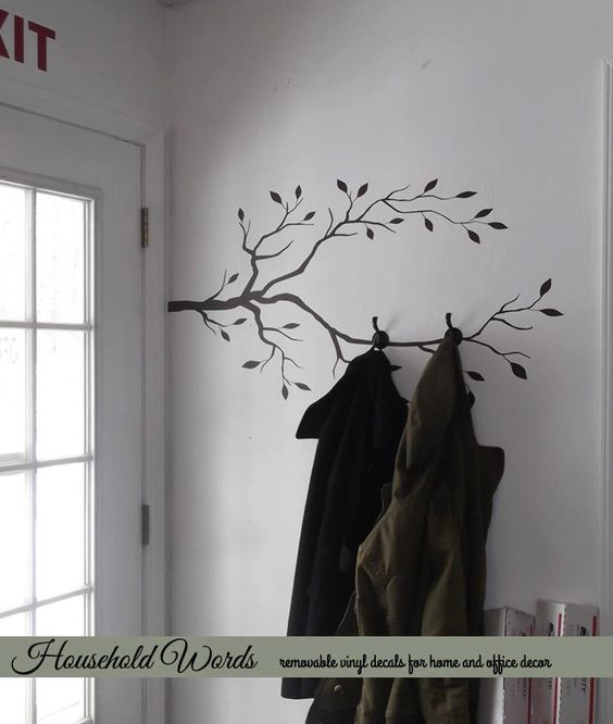 Tree Branch Decor Vinyl Wall Decal, DIY Coat rack decal, Nature decals for Office wall art and Home, via Etsy.