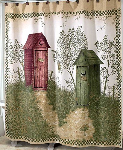 Outhouses Shower Curtain   Country Decor Fabric Shower Curtain ...