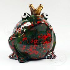 "POMME PIDOU - exklusive Spardose - Keramikfigur ""WIESENFROSCH"" roter Mohn - NEU"