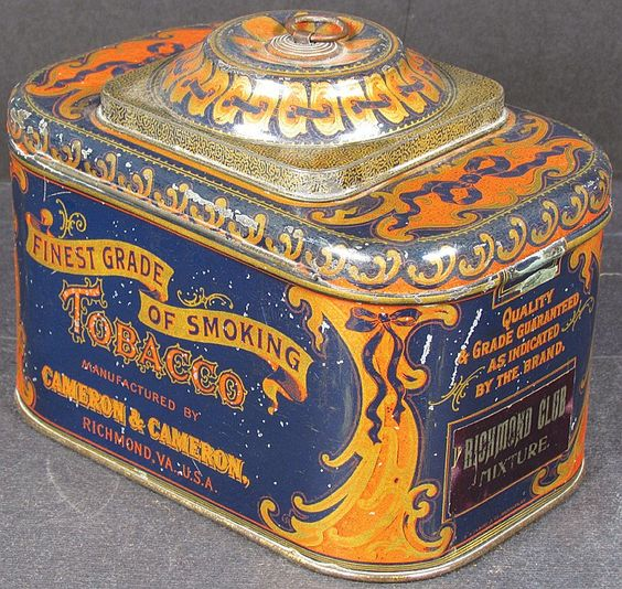 Dome Top Smoking Tobacco Tin. Blue/red, Mfg. by Cameron &  Cameron Co.