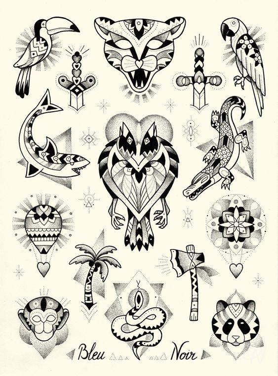 bleu-noir-tattoo-art-shop-violette-paris tatouages-flash-animaux
