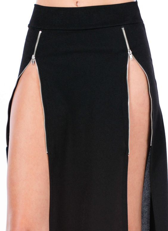Double Zipper Slit Maxi Skirt-GoJane.com