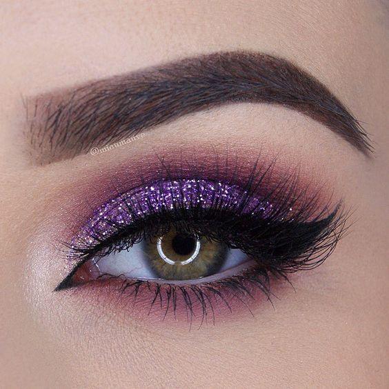 Purple glitter eye makeup #eye #eyes #makeup