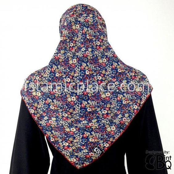 Mixed Wild Flowers in Cranberry Cream and Honey colors on light Navy Blue Khimar