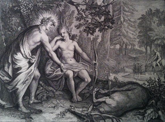 Cyparisse et son cerf - Fables choisies tirées des Métamorphoses d'Ovide, 1878 - Gravure : Bernard Picart.: