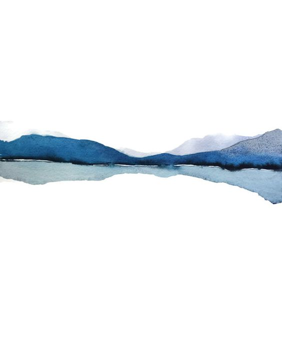Abstract Landscape Watercolor Painting, Modern Watercolor Print Art, Water Painting,Blue Gray White Art Print,Mountain Reflection Art Nature