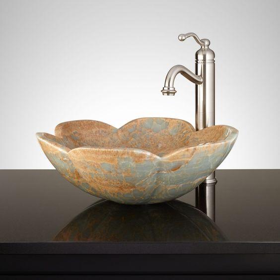 Maccal Blue Onyx Flower Vessel Sink