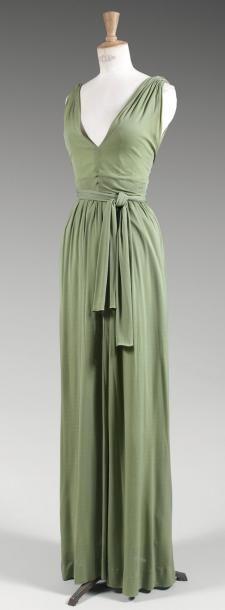 Jean Patou, haute couture, circa 1960   Long dress in silk jersey almond green