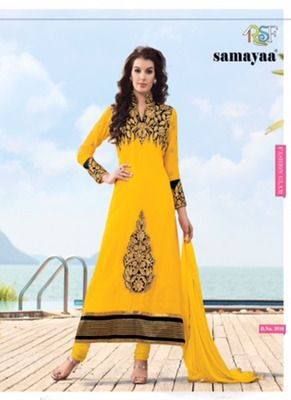 Evelyn Yellow Coloured Georgette  Embroidered Dress Material