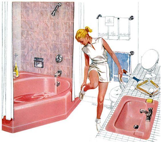 Cuarto de baño de mediados del siglo, Ropas de tenis and Muebles ...