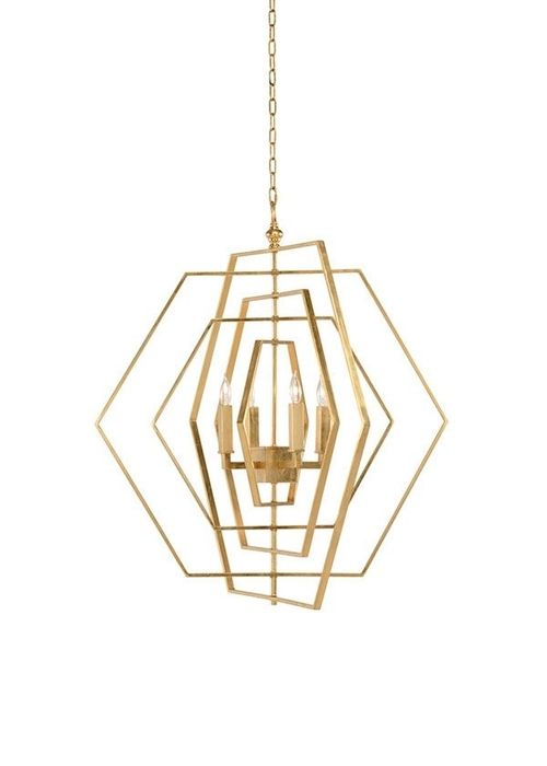 Hexagon Chandelier Gold Modern Gold Chandelier Geometric Chandelier Candle Styling