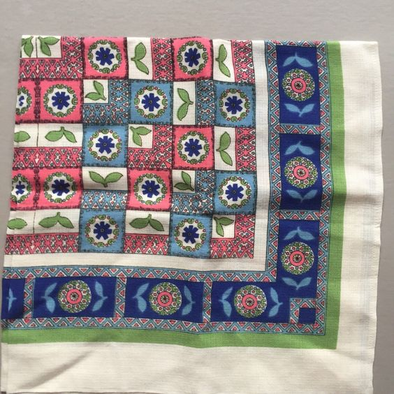 LINEN TABLE Cloth Mandala Leaf Checkered Pattern Blue Pink Green Grey Light Blue Turquoise Square Shape by BROCANTEBedStuy on Etsy