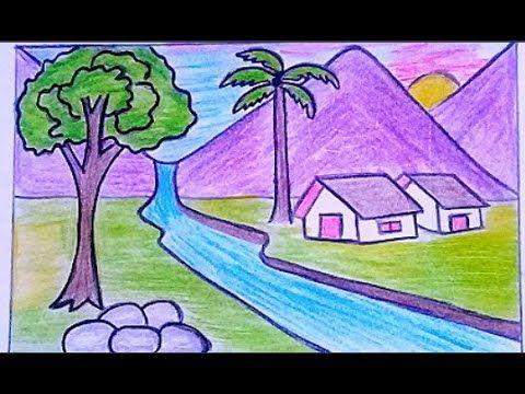 كيفية رسم منظر طبيعي سهل بالرصاص والملونات الخشبية رسومات جميلة وسهلة Youtube Scenery Drawing For Kids Art Drawings For Kids Drawing Scenery