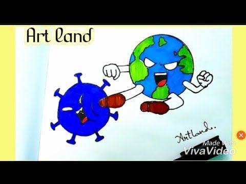 رسم سهل تعليم رسم محاربه العالم لتخلص من فيروس كورونا للمبتدئين Fight Against Corona Drawing Youtube Art Smurfs Character