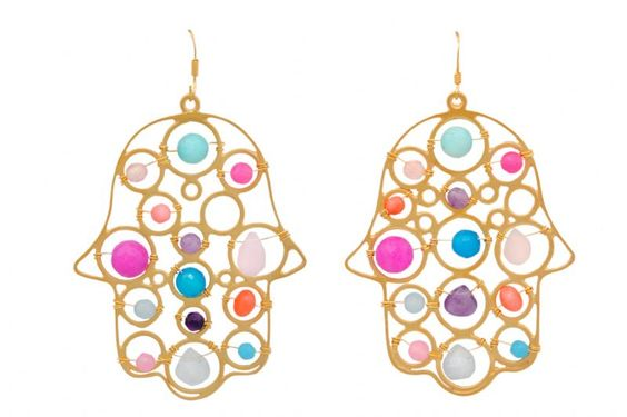 By Lisa Wire Circles Earring with Multicolored Gemstones