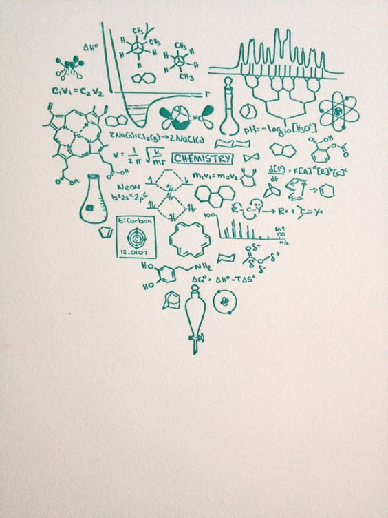 Got Chemistry print -- Letterpress heart TEAL -- Science geekery